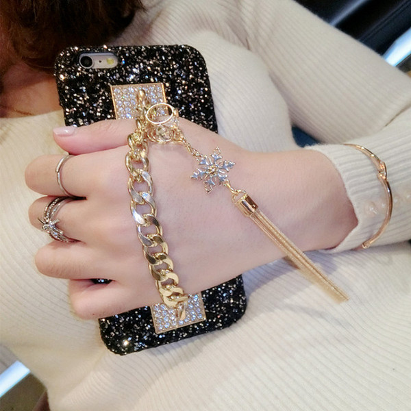 2017 Girl Woman Lady Style Tassel Cover +3d Diamond Bling Glitter Rhinestone Phone Case For Iphone 6 6s 6plus 8 Plus 7 7plus X