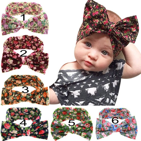 Wholesale Cheap Headbands Bow Hairs Vintge Hair Head Band Baby Girl Sweet Elastic Knit Cotton Baby Hair Accessories Free Shipping