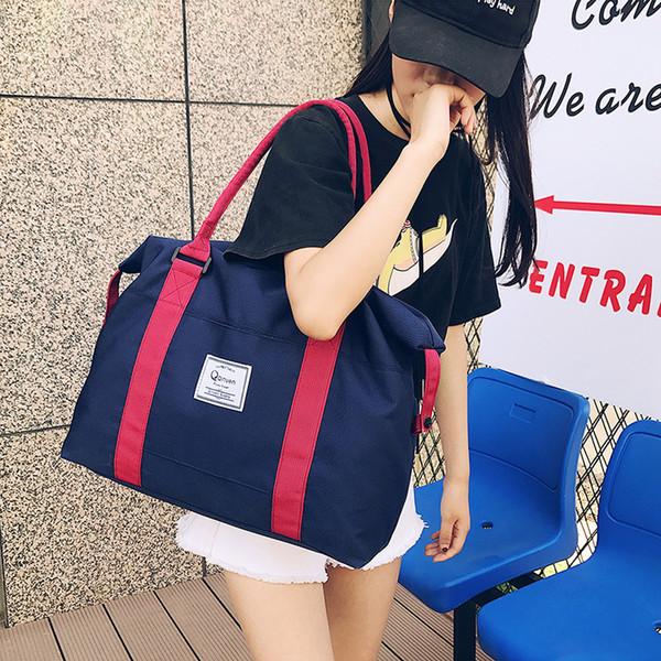 Sports men and women solid color shoulder bag outdoor travel bag large capacity leisure luggage backpack Oxford cloth handbag