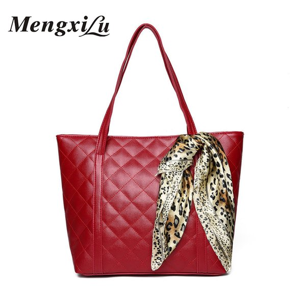 Casual Tote Women Large Handbags Fashion Scarves Design 2018 Women Shoulder Bag High Quality Solid Pu Leather Shopping Bag Bolsa