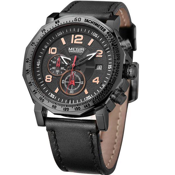 MEGIR Brand Fashion Men's Wrist Watches Black Genuine Leather Retro Clock Man Military Waterproof Quartz watch Relogio Masculino