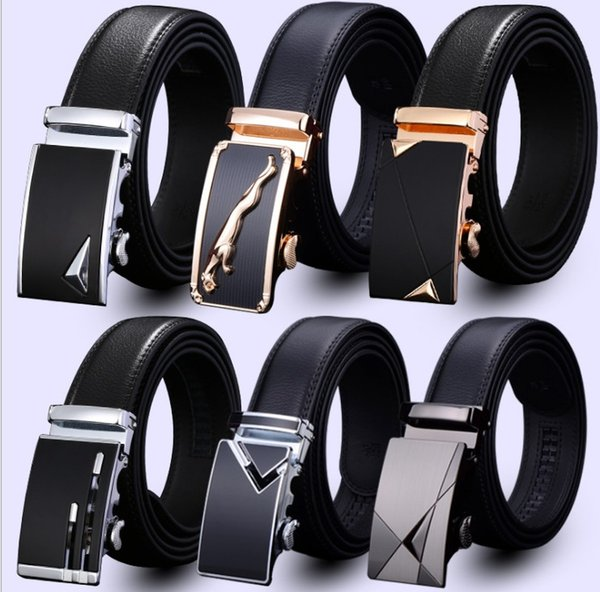 top popular men's leather belt Fashion automatic buckle strap for Business Luxury casual s Waist Strap Belt Waistband 80 designs 2019