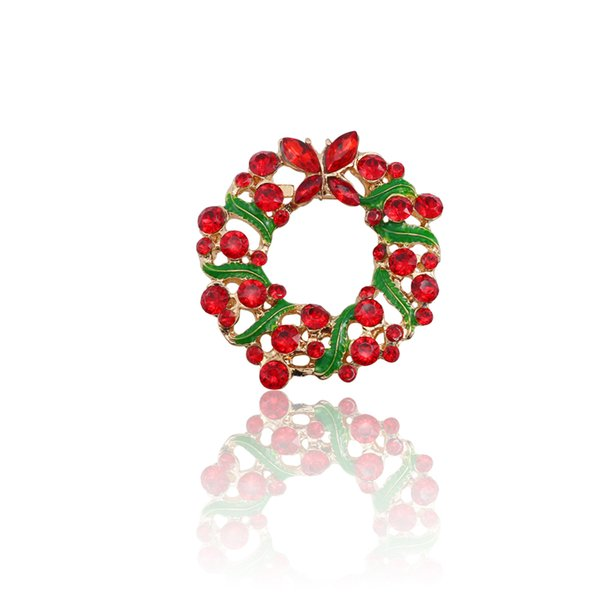 0e7272d28f1 Fashion Exquisite Christmas Pins And Brooches Red Rhinestone Enamel Xmas  Wreath Pin Brooch Jewelry For Women