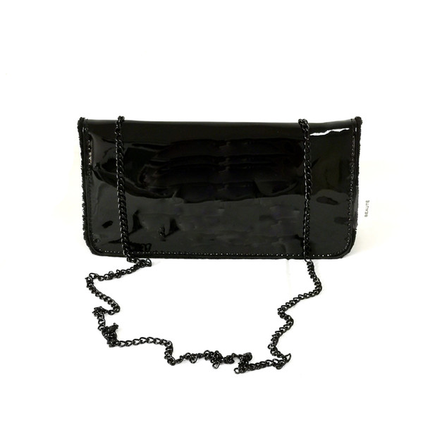 Black shiny bag womens fashion glossy bag with chain strap vip gift V2018W11