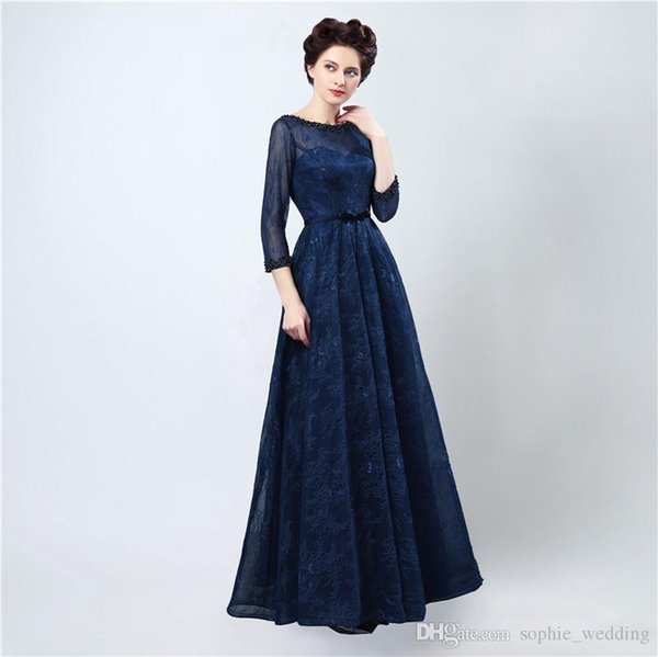Free Shipping Sexy Long Evening Dress Vestidos Longos Para Formatura 2018 Dark Blue Elegant Lace Prom Dresses with Sleeves