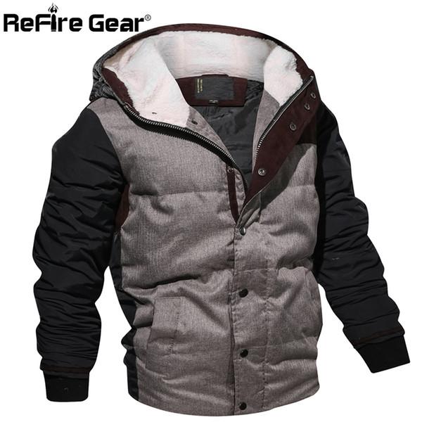 ReFire Gear Style Winter Jacket Men Warm Cotton Parka Coat Casual Autumn Thermal Fleece Knitting Hoodie Jacket EUR Size