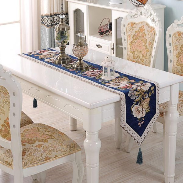 New Embroidery Flower Table Runner Home Textiles Cloth Fashion Luxury Upscale Neoclassical Table Runner Wedding Table Cloths Decoration