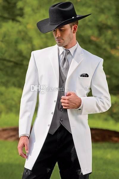 Vintage Smoking Ocidental Cowboy Slim Fit Terno Do Noivo Preto Jantar de casamento Terno Para Os Homens / Terno de Baile de 3 Peças (Jacket + Pants + Vest)