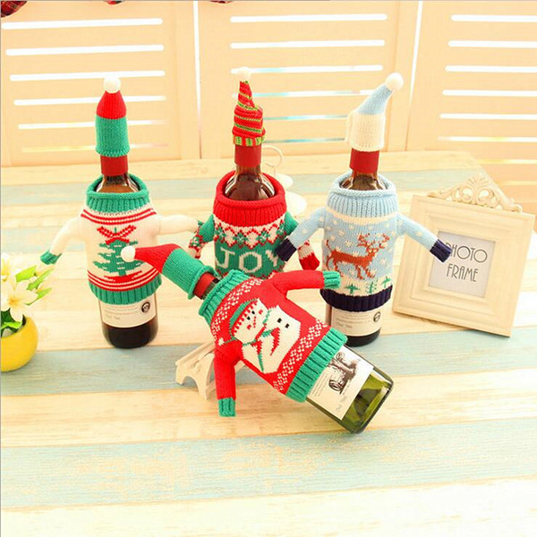 Christmas Wine Bottle Cover Bags Cute Mini Sweater Party Decoration Santa Claus Xmas Non-woven Supplies Champagne Bottle Gift Wraps