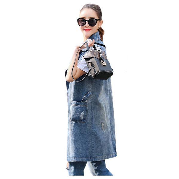 Summer Autumn Women Cotton Casual Cardigan Turndown Collar Jeans Waistcoats Sleeveless Jackets Tops Female Long Denim Vest Coat