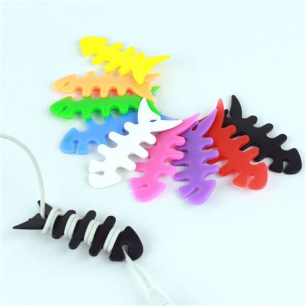 Colorful Earphone Charger Cable Winder Cable Holder Reel Winder Fishbone Headphone Cable Winder Cord Organizer Free Shipping