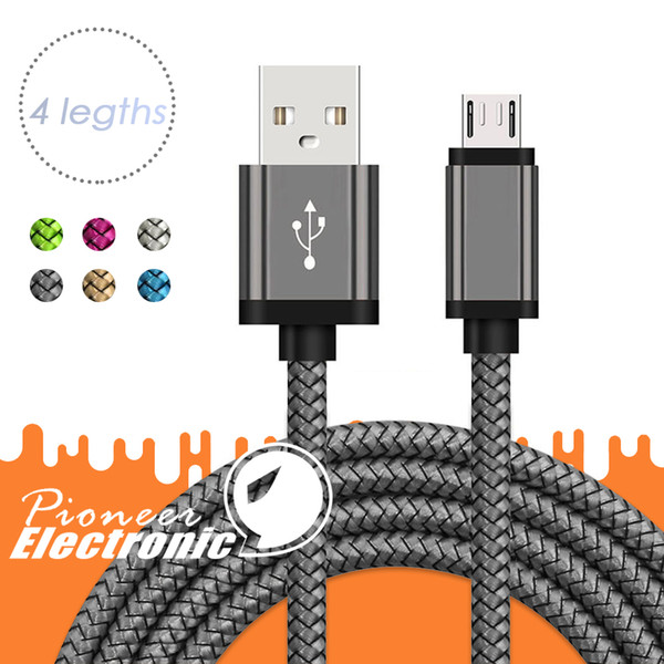 كبل USB مايكرو USB TYPE-C كابلات 3FT و 6ft 9FT نايلون مزين مزامنة بيانات الشحن السريع الحبل الكابلات للحصول على سامسونج LG الروبوت الذكي