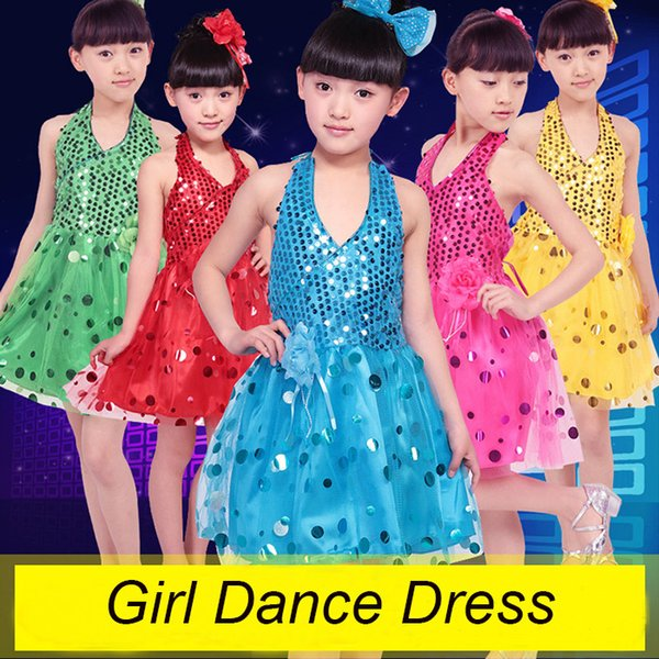 Girls Ballet Dress For Children Girl Jazz Dance Clothing Kids Ballet Jazz Costumes For Girls Performance Sequins Dance 5 Color