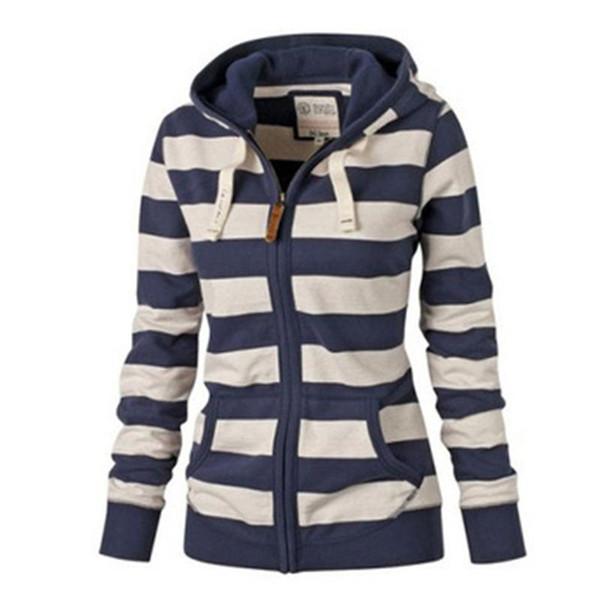 2017 Fashion Striped Hoodies Sweatshirts Women Long Sleeve Casual Female Casual Zip Up Pullover Sweatshirts Plus Size Harajuku Streetwear