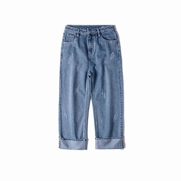 Korea Style Classic Symbol Worn-out Roll Up Legs Men Baggy Jeans 2018 Autumn Casual Cowboy Haren Pants Denim Male Trousers S-2XL