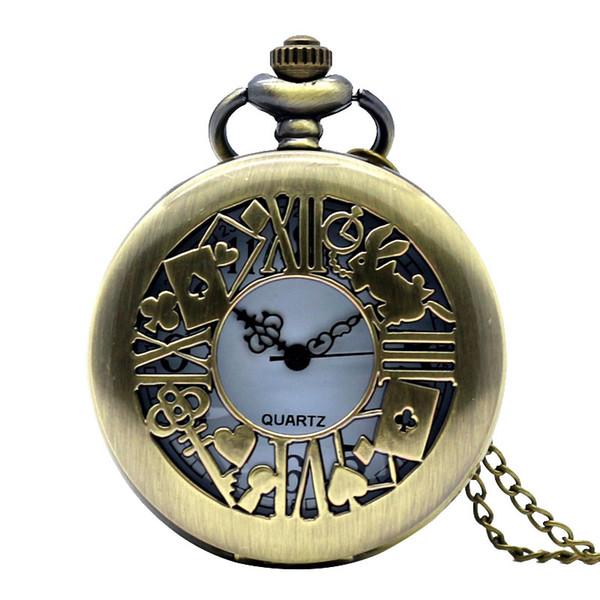 Bronce de la vendimia Relojes de bolsillo Hombres Wander Time Magic Cuarzo Poket Reloj Open Face Fob Reloj Número árabe Regalos Reloj Mujer