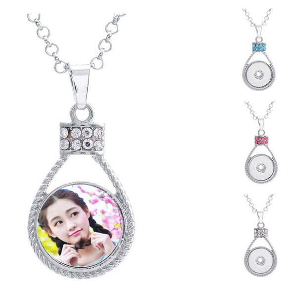 button necklaces pendants for dye sublimation zircon necklaces pendant jewelry for women heat transfer printing blank consumable