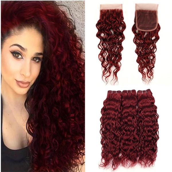 99j vinho vermelho cabelo humano feixes com lace closure onda de água de borgonha extensões de cabelo com 4x4 lace top encerramento 4 pçs / lote