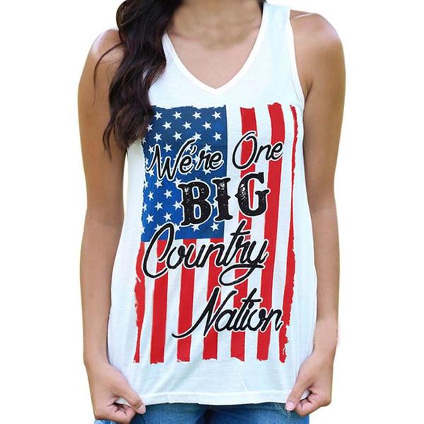 Kadın tank top 2018 Polyester Yaratıcı Amerikan Bayrağı Mektup Baskılı Üst kadın yaz Rahat Yelek kadın Camiş Giyim # 1D