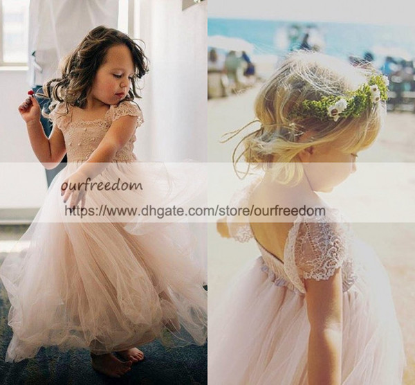 Blush Pink Tulle Princess First Communion Dresses 2019 Cape Sleeve Baby Girls Birthday Dresses Flower Girls Dresses Custom Made