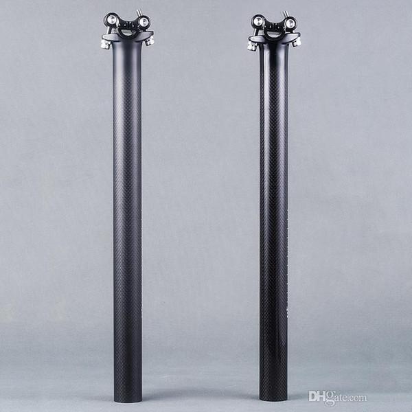 Estrada de bicicleta de montanha 3k brilhante fibra de carbono fosco bicicleta selim bicicleta assento posts 27,2 30,8 31,6 * 450 milímetros