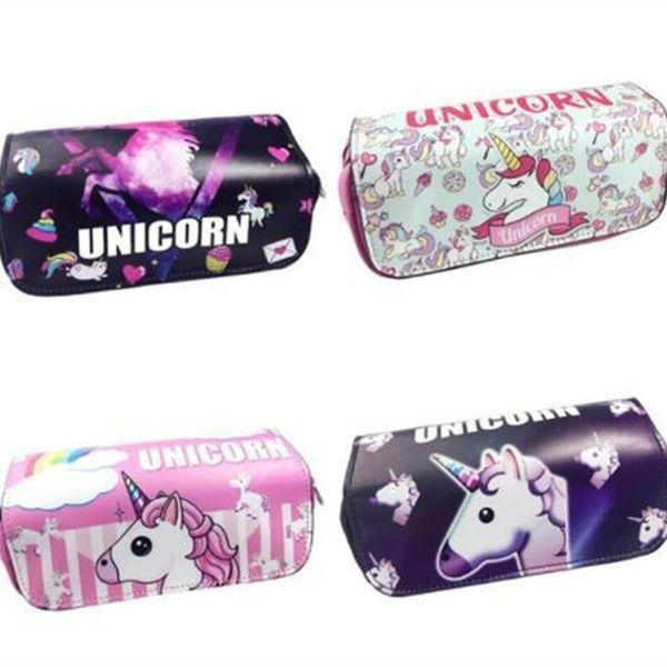 4 design unicórnio saco do lápis zipper escola lápis case para meninas meninos pu bolsa de couro saco de papelaria bolsa escola saco de armazenamento 50 pcs T1I898