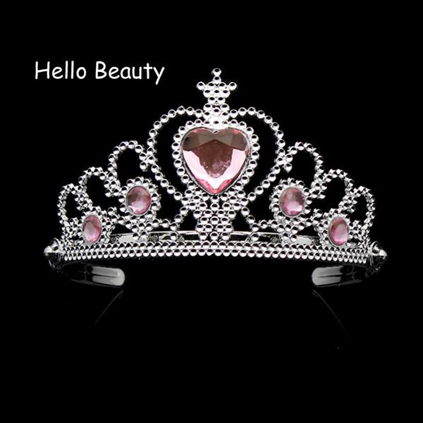 Schöne Rosa Mädchen Kunststoff Haarband Strass Prinzessin Krone Stirnband Herz Geburtstag Tiara für Kinder Haarschmuck