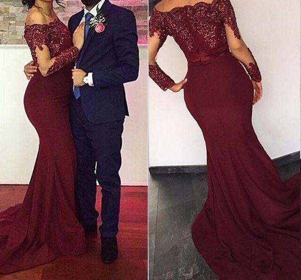2018 Bourgogne Rouge Sirène Robes De Soirée Wears Bateau Cou Manches Longues Paillettes Hors Épaules Appliques Satin Pas Cher Robes De Bal Pour Les Femmes