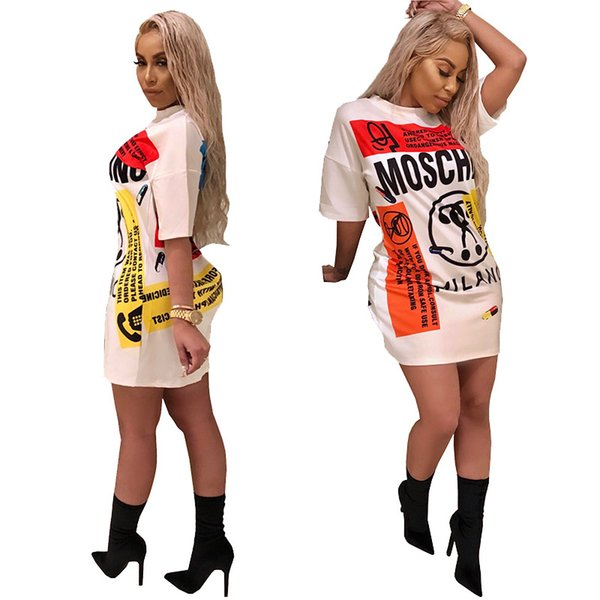Mode buchstaben drucken graffiti t-shirt dress frauen lose kurzarm casual kleider weiß party mini dress vestidos