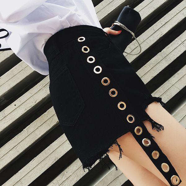 Vintage tassel noir taille haute short en jean femmes casual jeans shorts 2018 fille d'été chaud