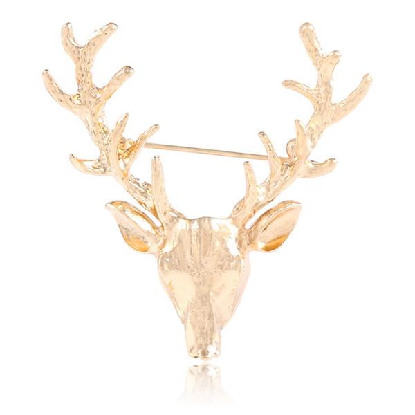 Deer Antlers Head Brooch Pin Unisex Animal Christmas Xmas Popular Cute Gold Fashion Vintage Retro Christmas Gift Brooches