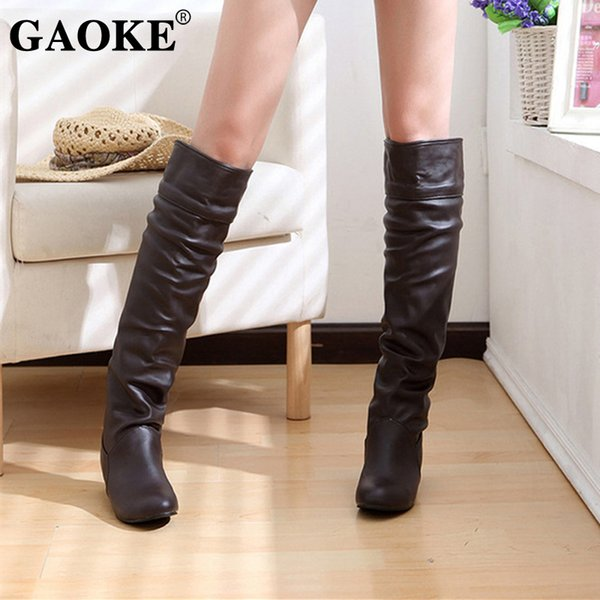 Woman Shoes Spring Woman Boots Platform Rubber Boots Black White Low Heel Knee Autumn Lady Heel Shoes Knee High Footwear