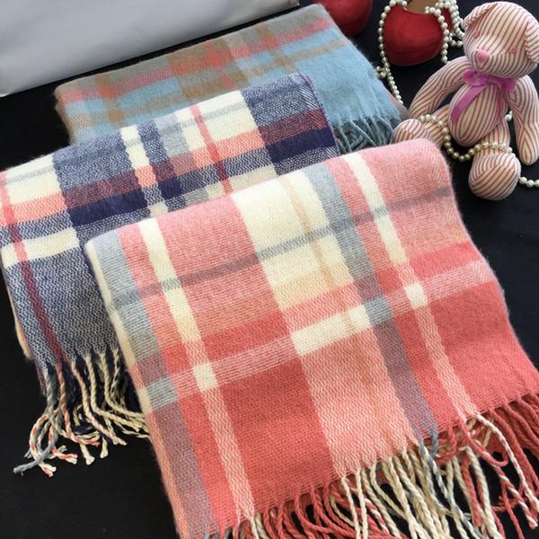 Осень зима женский шерстяной плед шарф женщины кашемировые шарфы широкие решетки длинная шаль обертывание одеяло теплый палантин прямая поставка