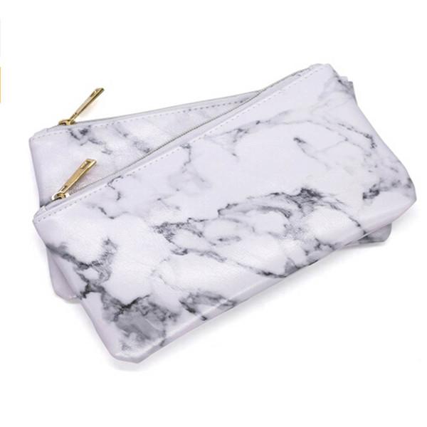 Cepillo de la PU bolsa de maquillaje cierre de cremallera bolso de la bolsa de mármol belleza maquillaje Cepillo Titular de la bolsa de almacenamiento de cosméticos herramienta de maquillaje