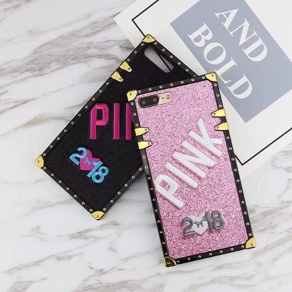 Luxury Embroidery 3D Pink Letter Case for iphone XS MAX XR X 7 8 6S Plus Glitter Metal Square Phone Cases Samsung S9 Plus VIVO OPPO Cover