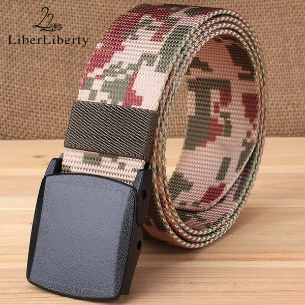 Men Belt Canvas Camouflage Quick-drying Nylon Webbing Automatic Buckle Belts Plastic Without Metal Allergy 125cm Tactical Belts