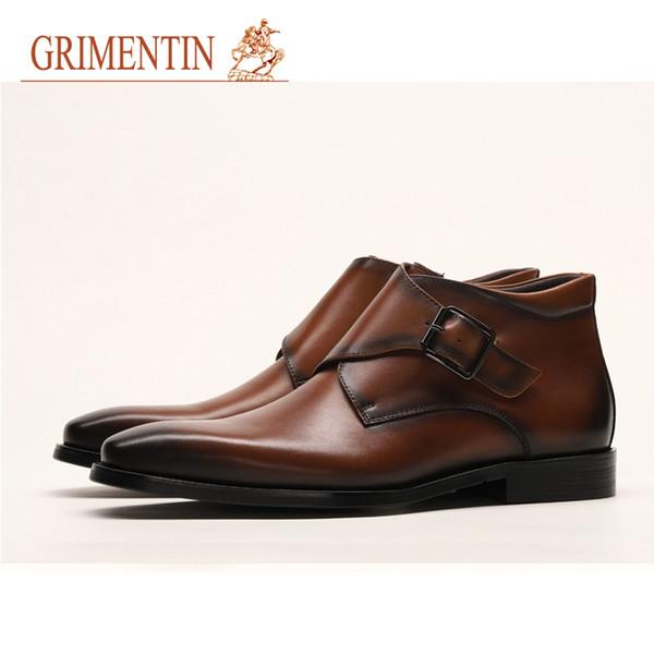 Mode Marque 100Cuir Robe Pour Chaussures Acheter Hommes Italienne Hommes GRIMENTIN Bottines Hommes Bottes Véritable Marron Bottes Vente Chaude Noir mN0Onyvw8