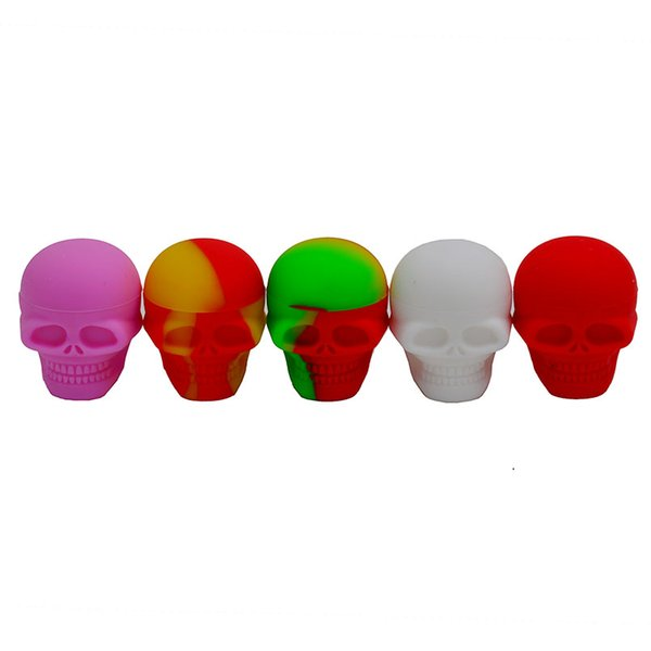 3mL Skull Shaped Wax Oil Containers Silicone Jars Wax Cans Concentrate Makeup Tins Storage Bottles Gadgets for Family