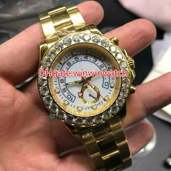 Ouro ym relógio de pulso automático diamantes bisel 41mm relógio de alta qualidade dos homens mostrador branco relógios resistentes à água