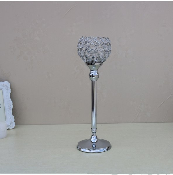 """Wholesale Glass Crystal Candle Holders 12"""" 30cm Tall Wedding Centerpiece Metal Silver Gold Candlestick Candle Stand"""