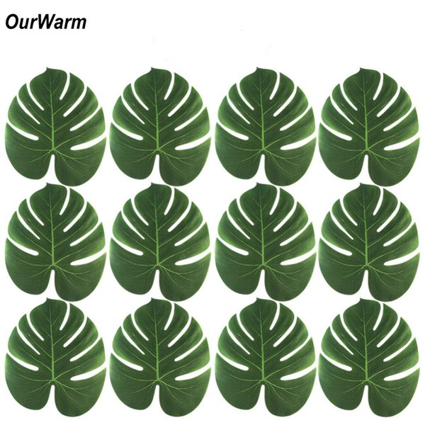 Ourwarm 24pcs Artificial Tropical Palm Leaves For Tropical Party Decorations Wedding Hawaiian Halloween Table Decoration