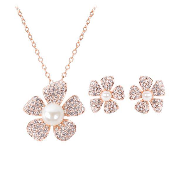 Perla fiore gioielli placcato oro collana set moda diamante wedding costume da sposa set di gioielli partito rubino jewelrys (collana + orecchini)