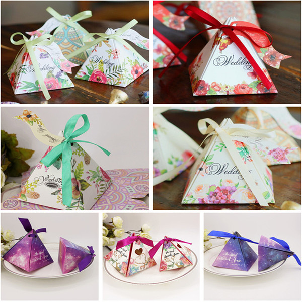 box spring 100pcs/lot Pyramid Style box Wedding Favour Boxes Sweet Spring Flower Party Favor Candy Boxes with Ribbon Tag