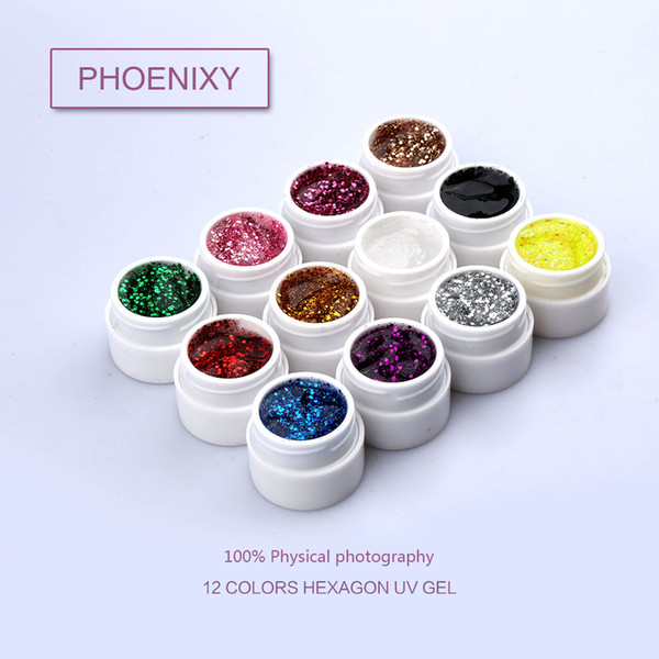 wholesale Phoenxiy Factory Supply 12 Colors UV/LED Soak Off Professional Nail Salon UV Gel Paint