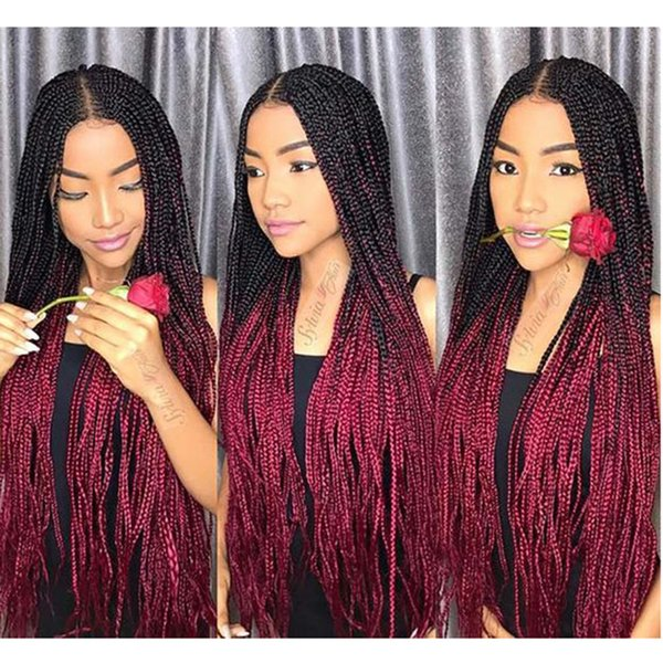 top popular Ombre Xpression Braiding Hair Two Tone 1B 99J Black Roots Dark Red Kanekalon Synthetic Color Xpression Braids Hair Extensions 24 Inch 100g 2020