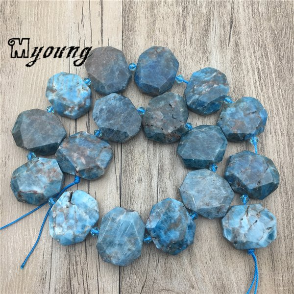 Genuine Blue Apatite Slab Space Beads,Faceted Gems Stone Drusy Slice Drilled Pendant beads Jewelry MY1939