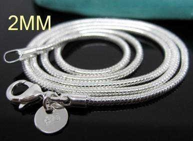C008 Hot Chain 2 MM Slim Top Quality 925 Stamped Silver Plated Snake Chain Jewelry Findings 16