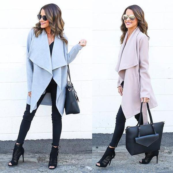 Mode Frauen Winter Warm OL Große Umlegekragen Asymmetrische Lace-up Kordelzug Lange Mantel Solide Trench Windbreaker Outwear