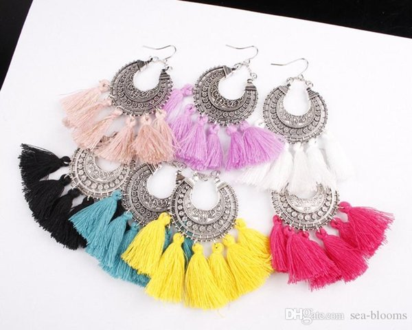 Fashion Handmade Statement Thread Multi-Color Tassel Earrings Boho Chandelier Thread Fringe Dangle Drop Earrings Jewelry For Women G797R
