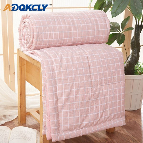 ADQKCLY Simple Summer Bedspread Quilt Soft Skin-friendly Comfortable Air Condition Summer thin Comforter Office throw Blankets